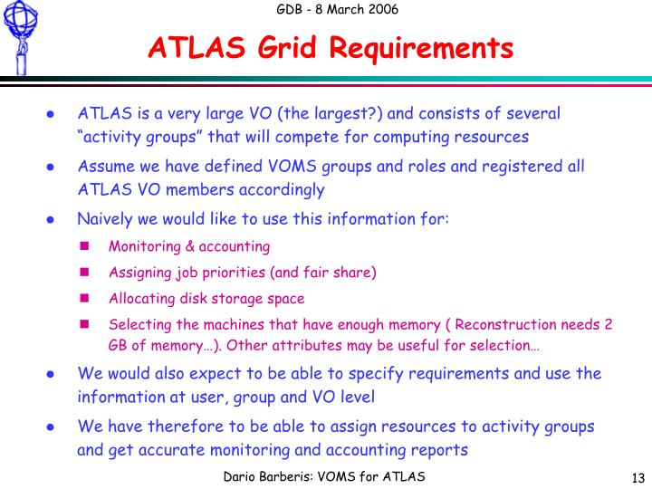 ATLAS Grid Requirements