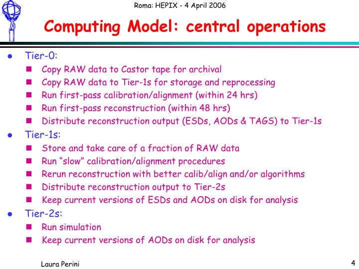 Computing Model: central operations