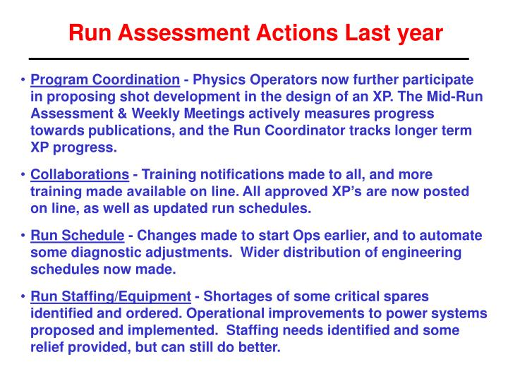 Run Assessment Actions Last year