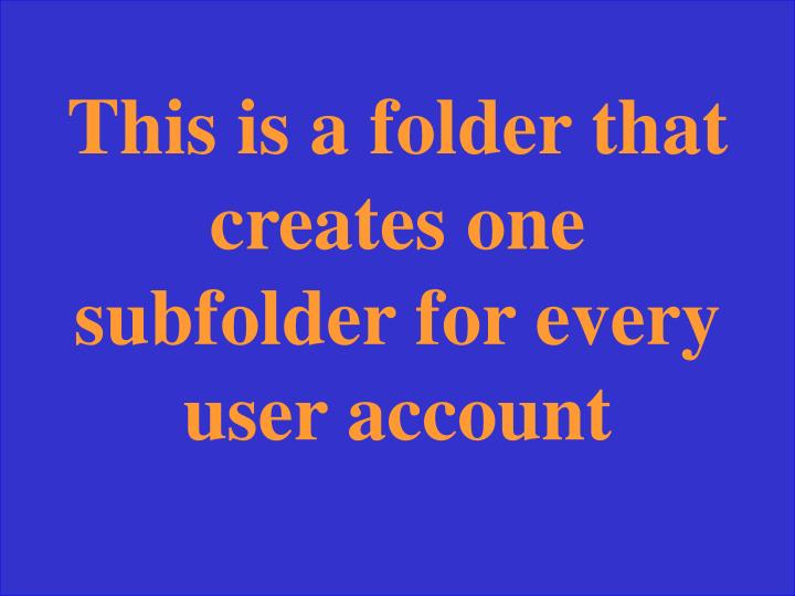 This is a folder that creates one subfolder for every user account