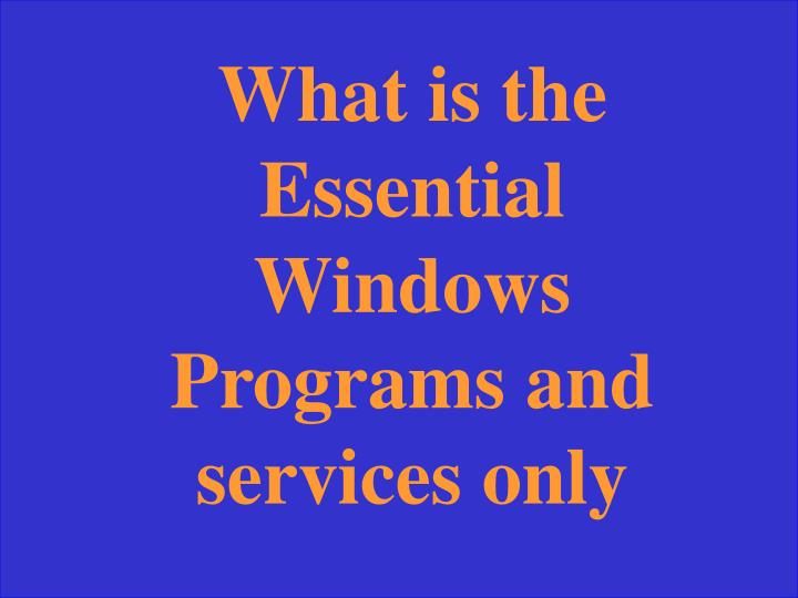 What is the Essential Windows Programs and services only
