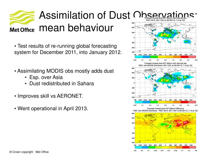 Assimilation of Dust Observations:
