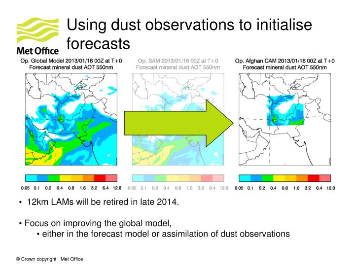 Using dust observations to initialise forecasts