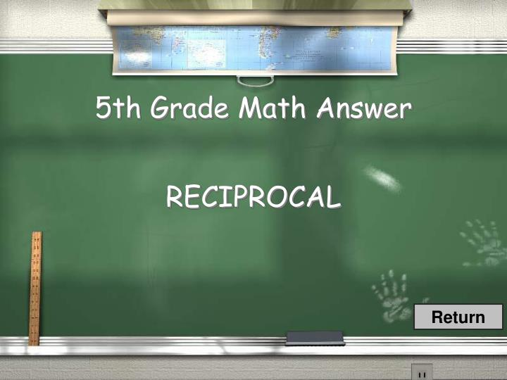 5th Grade Math Answer
