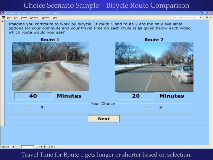 Choice Scenario Sample – Bicycle Route Comparison