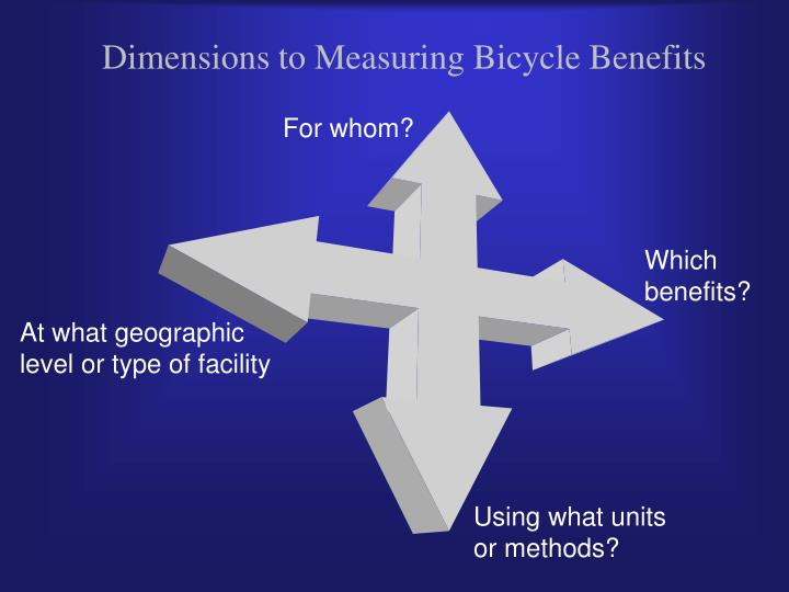 Dimensions to Measuring Bicycle Benefits