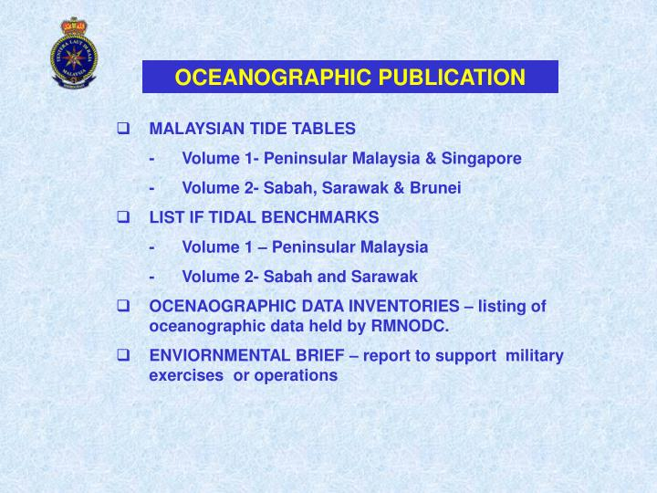 OCEANOGRAPHIC PUBLICATION