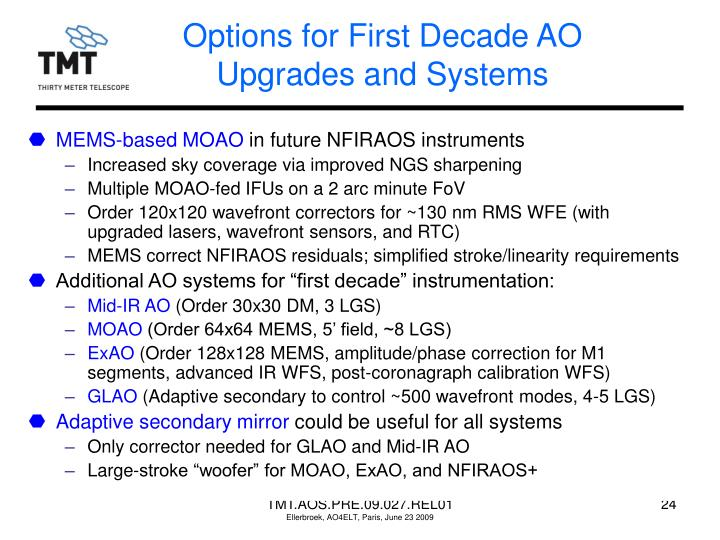 Options for First Decade AO Upgrades and Systems