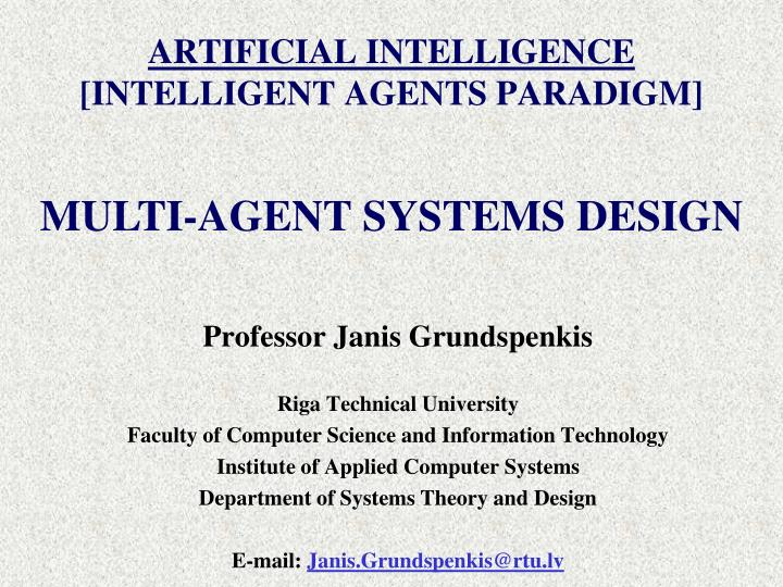 Artificial intelligence intelligent agents paradigm