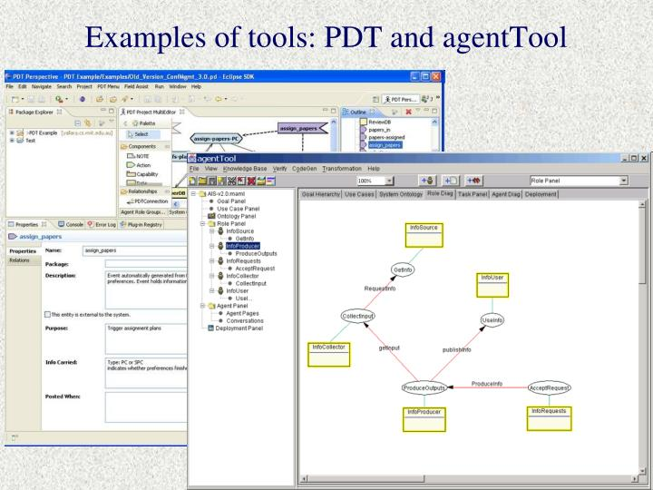 Examples of tools: PDT and