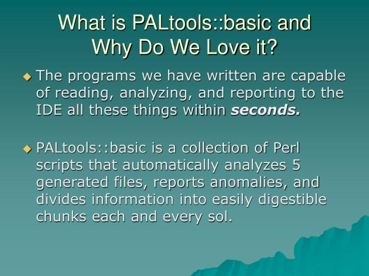 What is PALtools::basic and