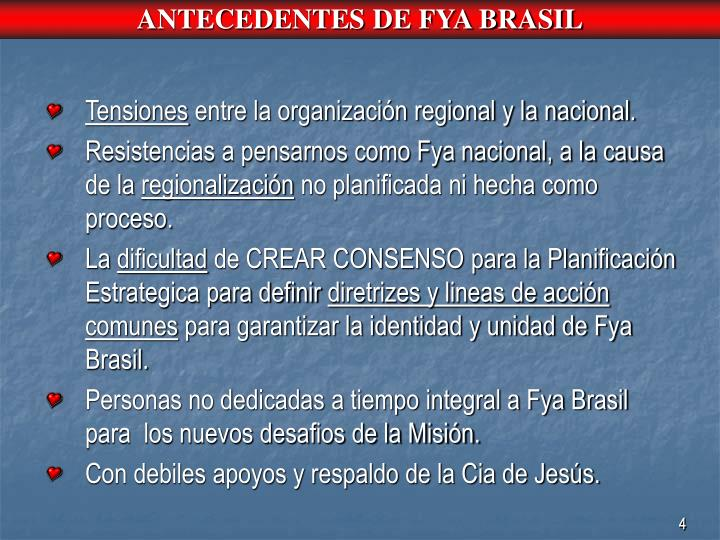 ANTECEDENTES DE FYA BRASIL