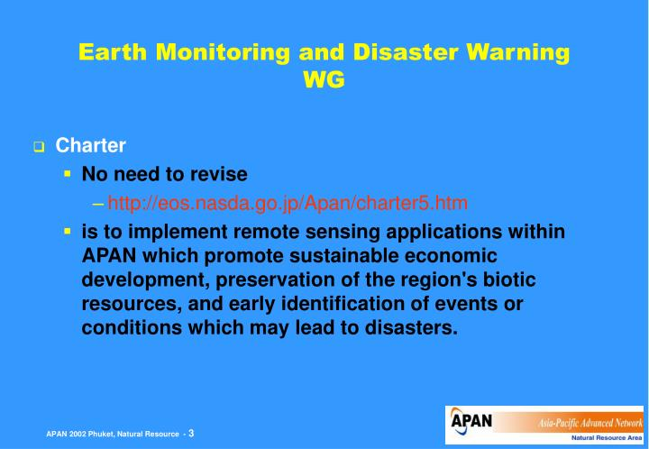 Earth Monitoring and Disaster Warning WG