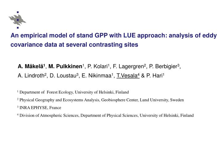 An empirical model of stand GPP with LUE approach: analysis of eddy covariance data at several contr...