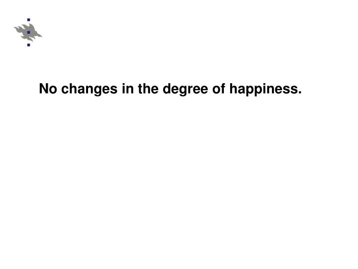 No changes in the degree of happiness.