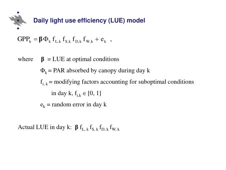 Daily light use efficiency (LUE) model