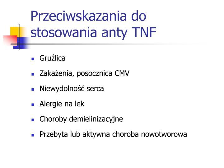 Przeciwskazania do stosowania anty TNF
