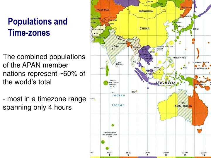 Populations and Time-zones