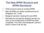 the new apan structure and apan secretariat