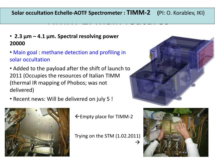 TIMM-2: main features