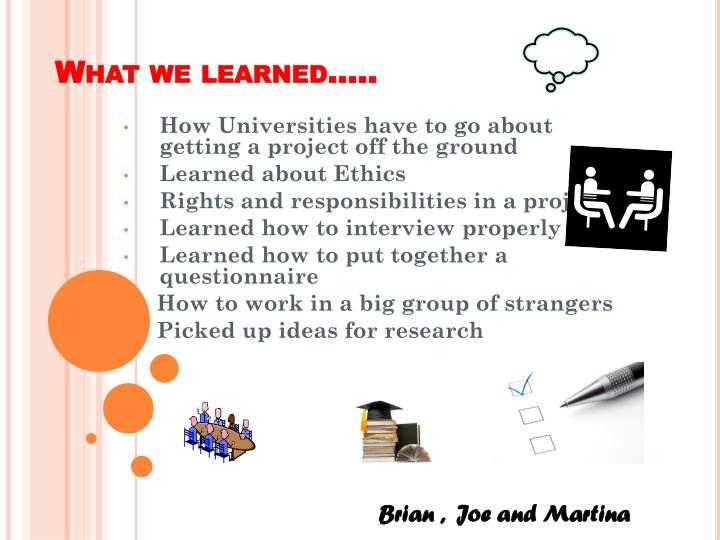What we learned…..