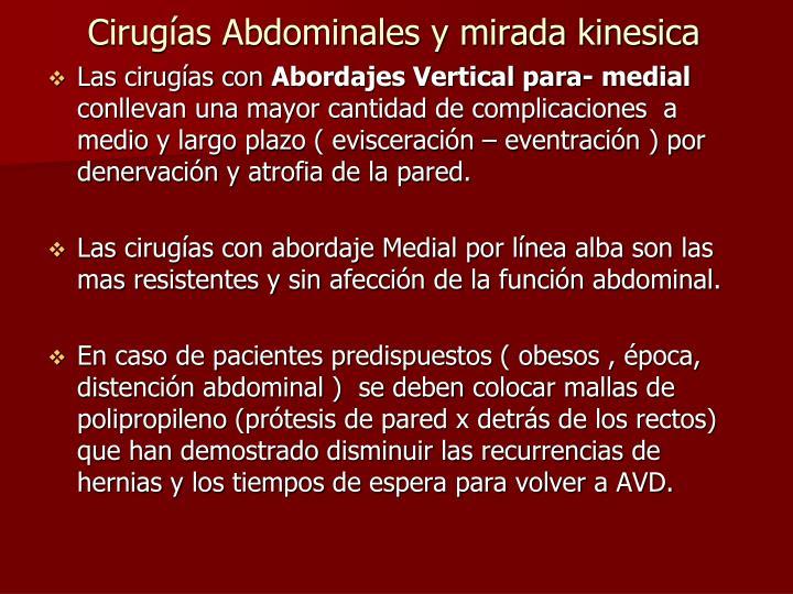 Cirugías Abdominales y mirada kinesica