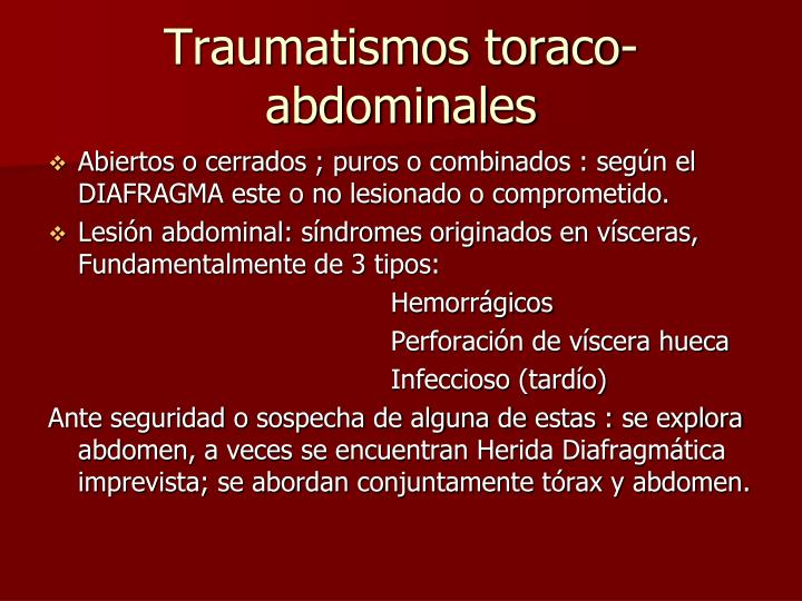 Traumatismos toraco-abdominales