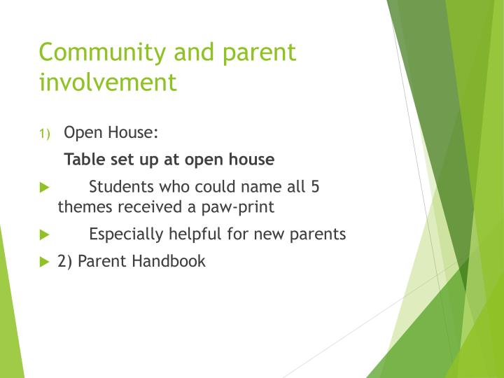 Community and parent involvement