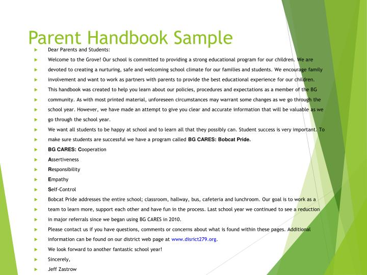 Parent Handbook Sample
