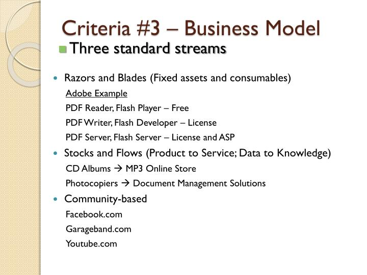 Criteria #3 – Business Model