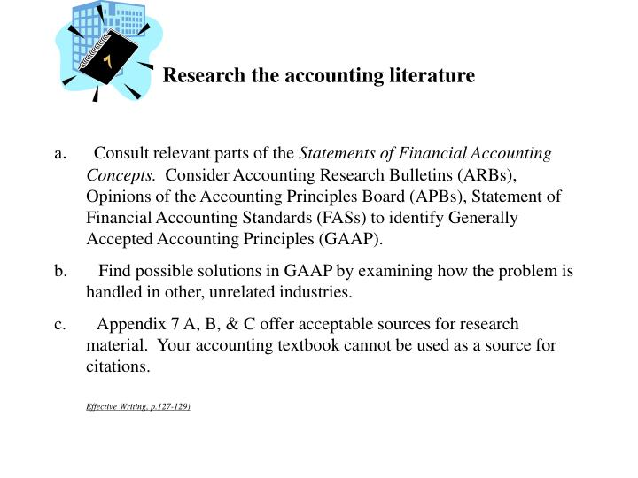 Research the accounting literature