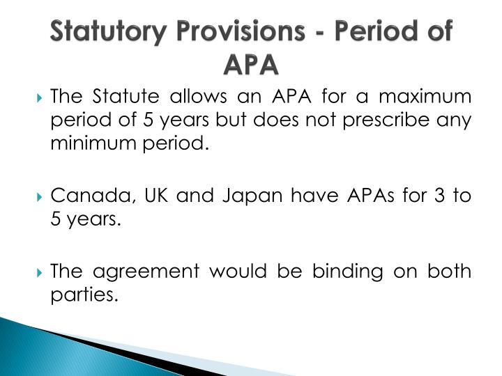 Statutory Provisions - Period of APA
