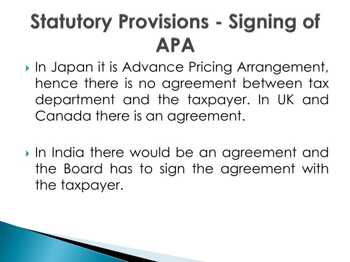 Statutory Provisions - Signing of APA