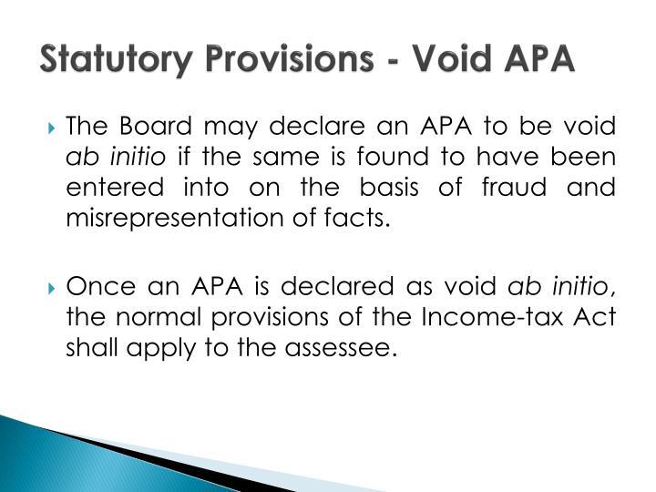 Statutory Provisions - Void APA