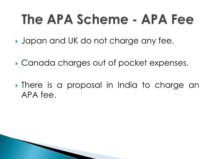 The APA Scheme - APA Fee