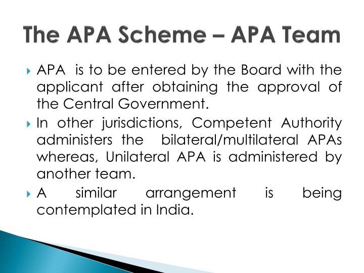 The APA Scheme – APA Team