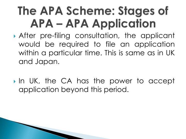 The APA Scheme: Stages of APA – APA Application