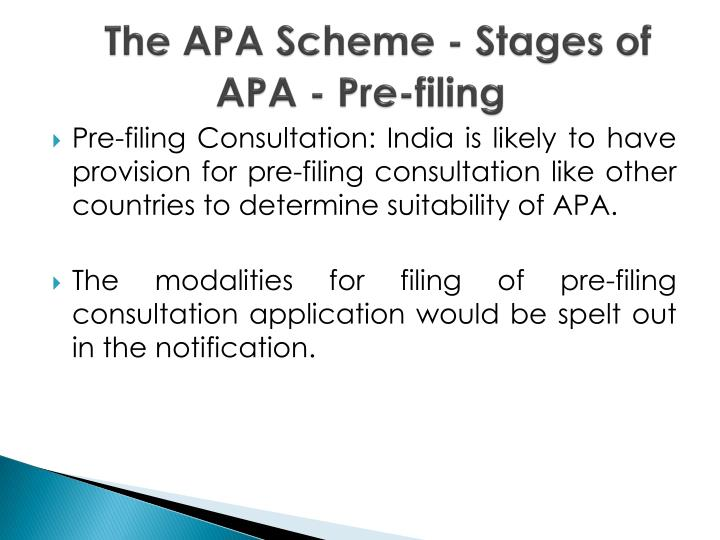 The APA Scheme - Stages of APA - Pre-filing