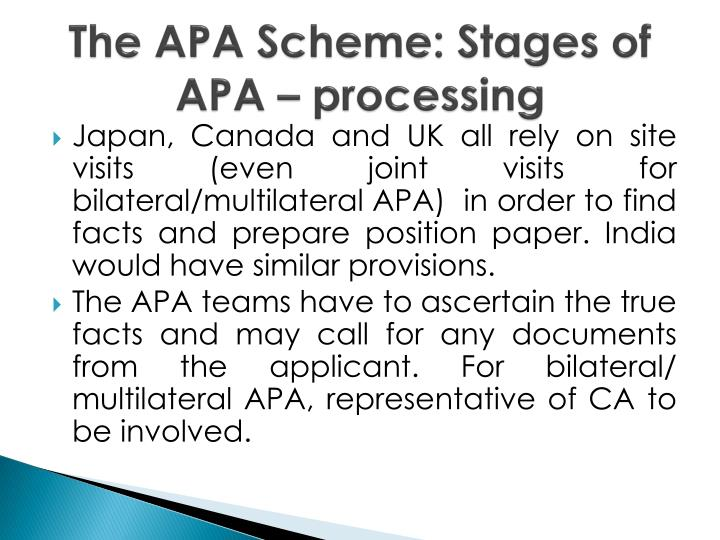 The APA Scheme: Stages of APA – processing