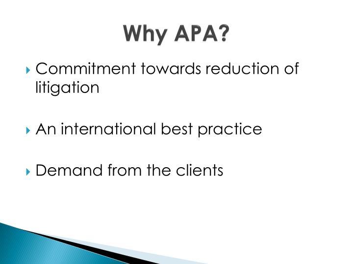 Why APA?