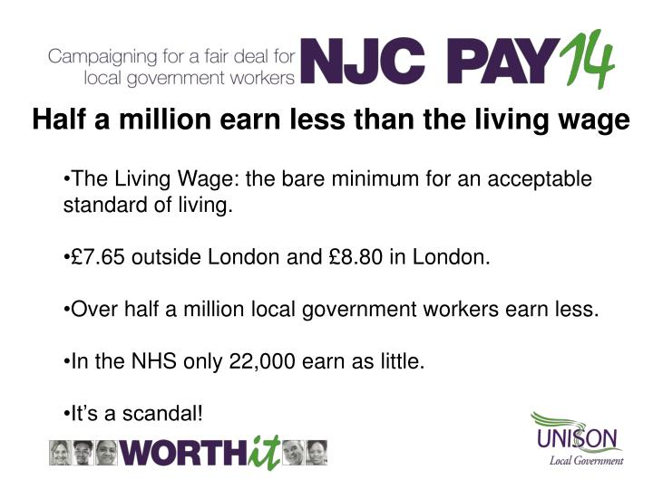 Half a million earn less than the living wage