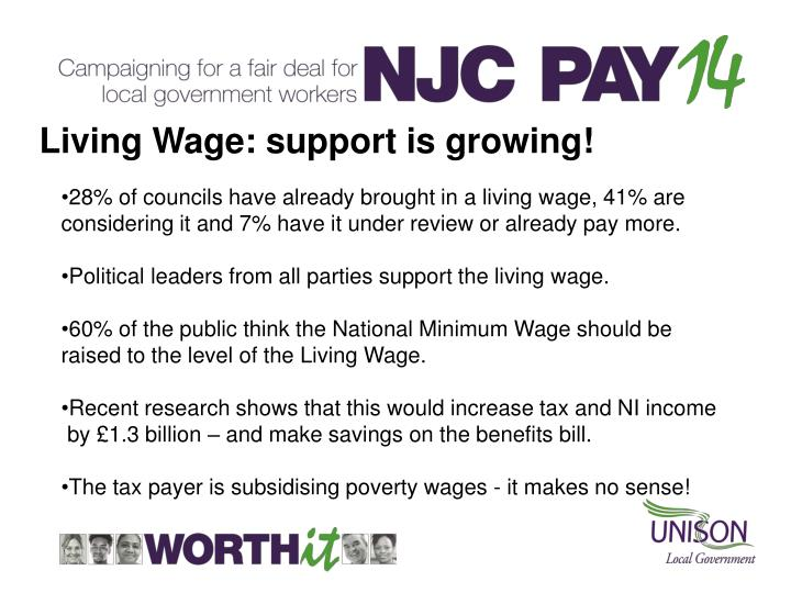 Living Wage: support is growing!