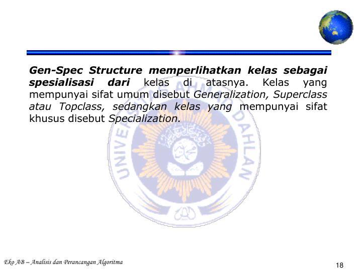 Gen-Spec Structure memperlihatkan kelas sebagai spesialisasi dari