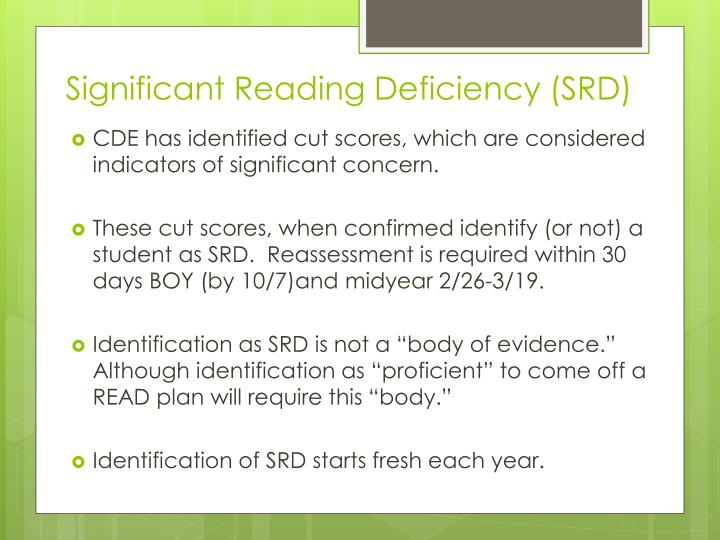 Significant Reading Deficiency (SRD)
