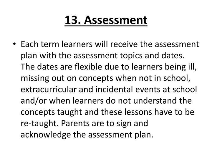 13. Assessment