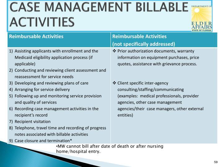 CASE MANAGEMENT BILLABLE ACTIVITIES