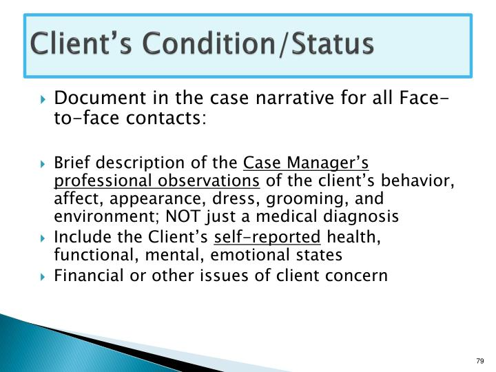 Client's Condition/Status