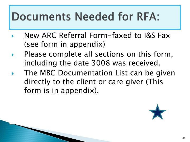 Documents Needed for RFA: