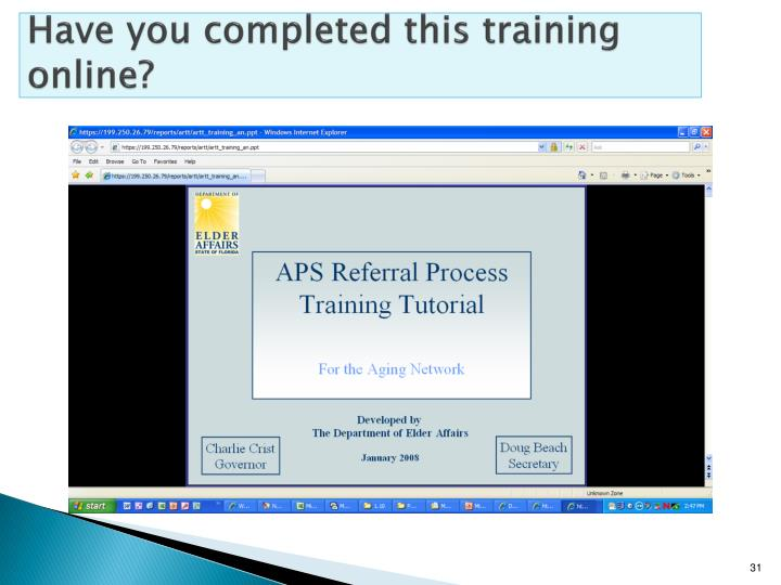 Have you completed this training online?