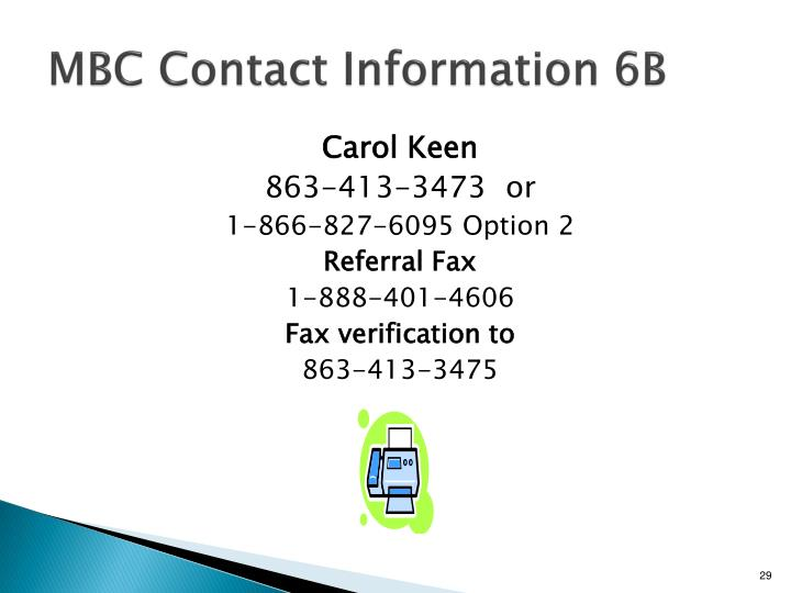 MBC Contact Information 6B